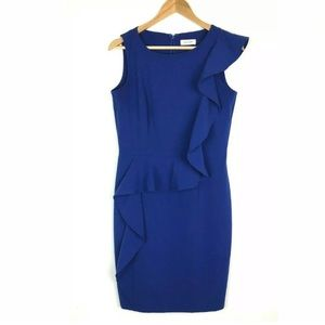 Calvin Klein Sheath Dress sz6 Royal Blue Flounce